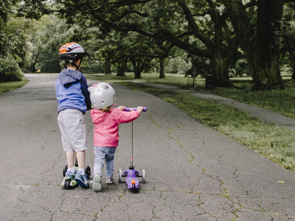 two toddler's walking on road near green tree