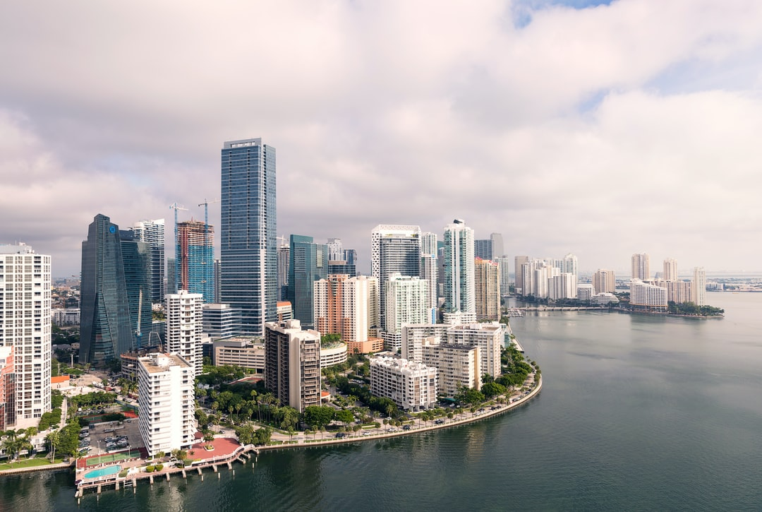 Aerial view of downtown Miami and Brickell from a morning flight on FlyNYON Miami.