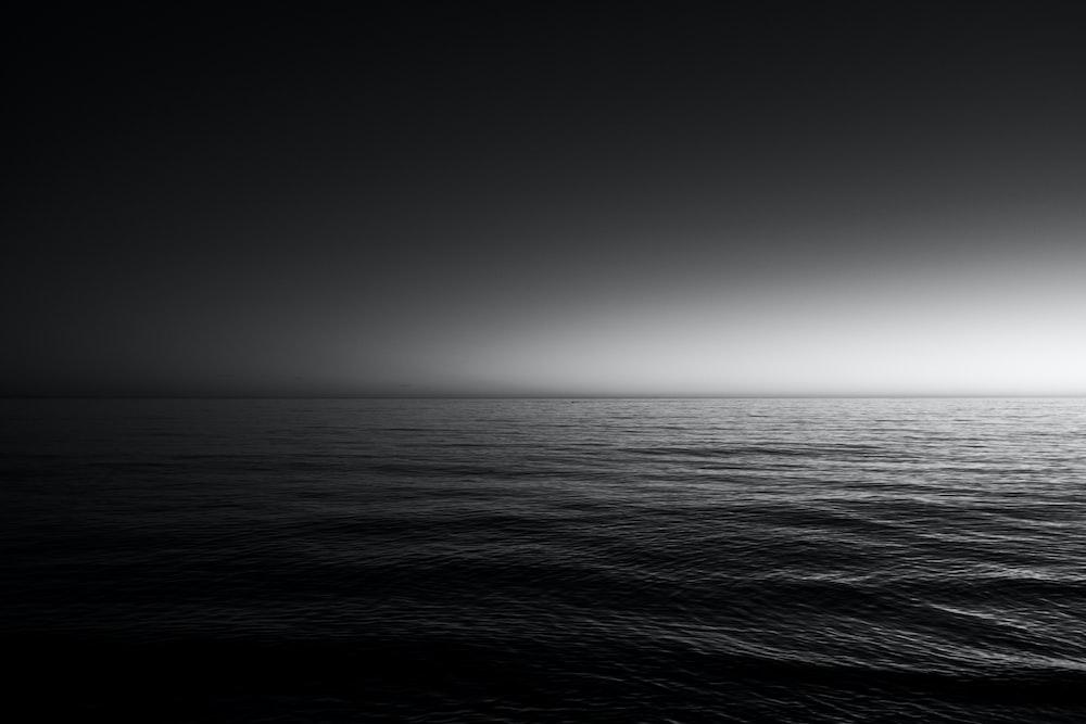 grayscale photo of sea