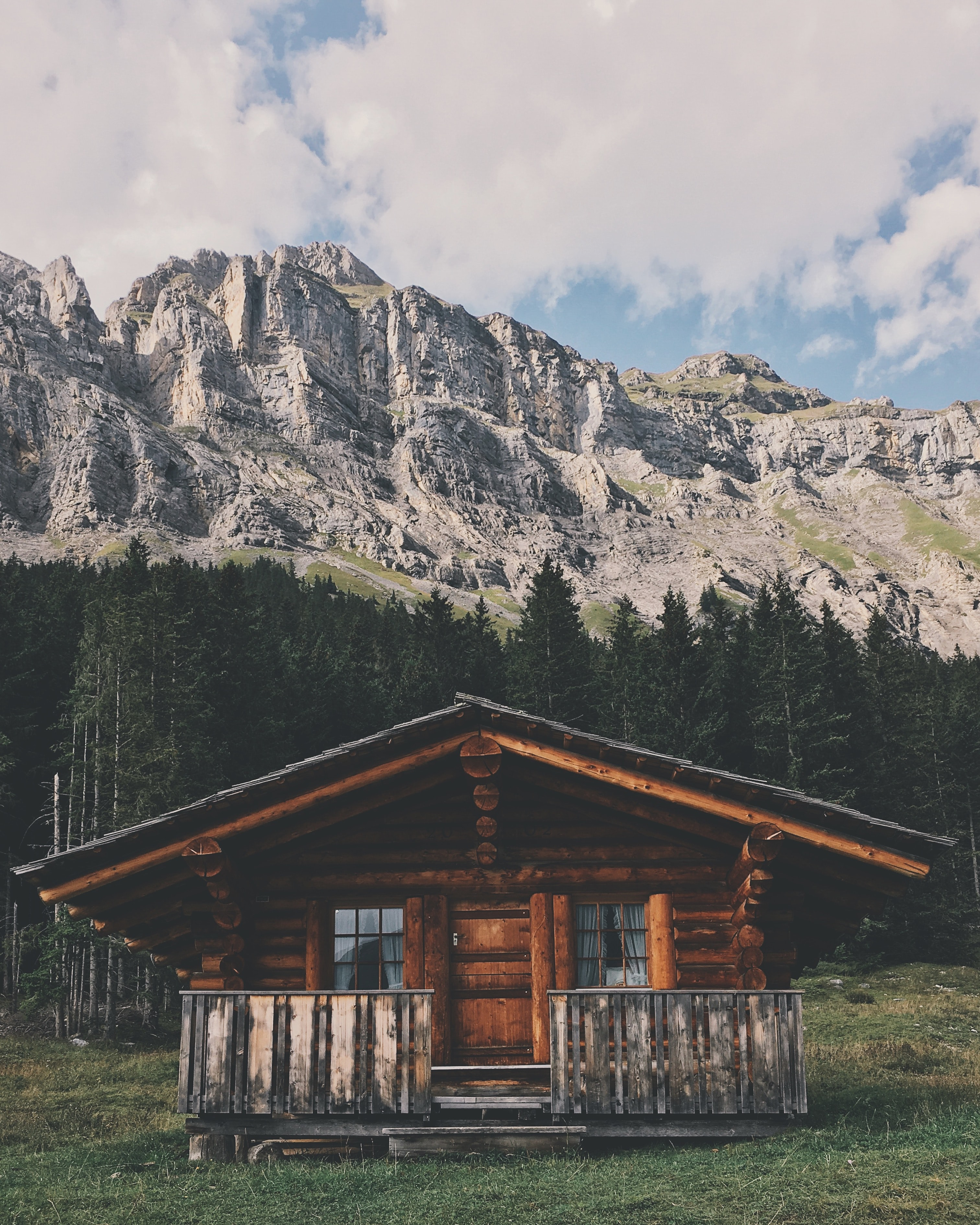 brown wooden cabin infront of forest