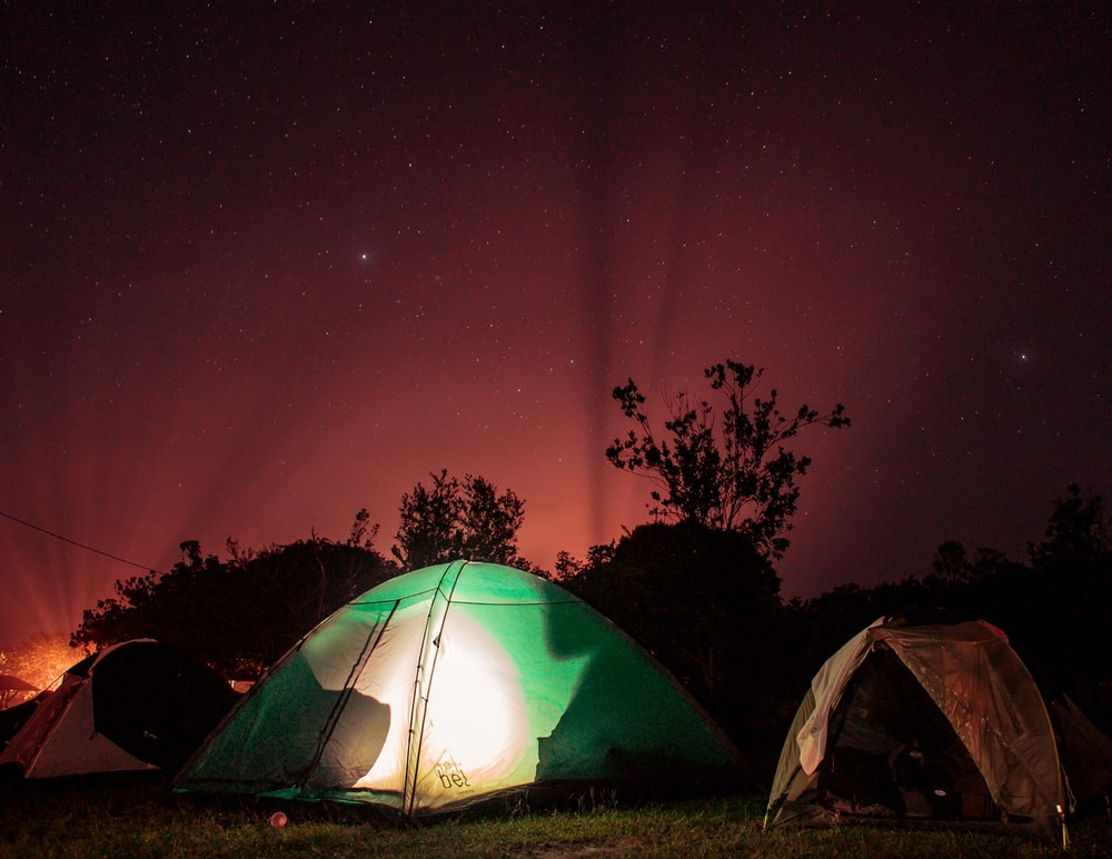 green lighted outdoor tent