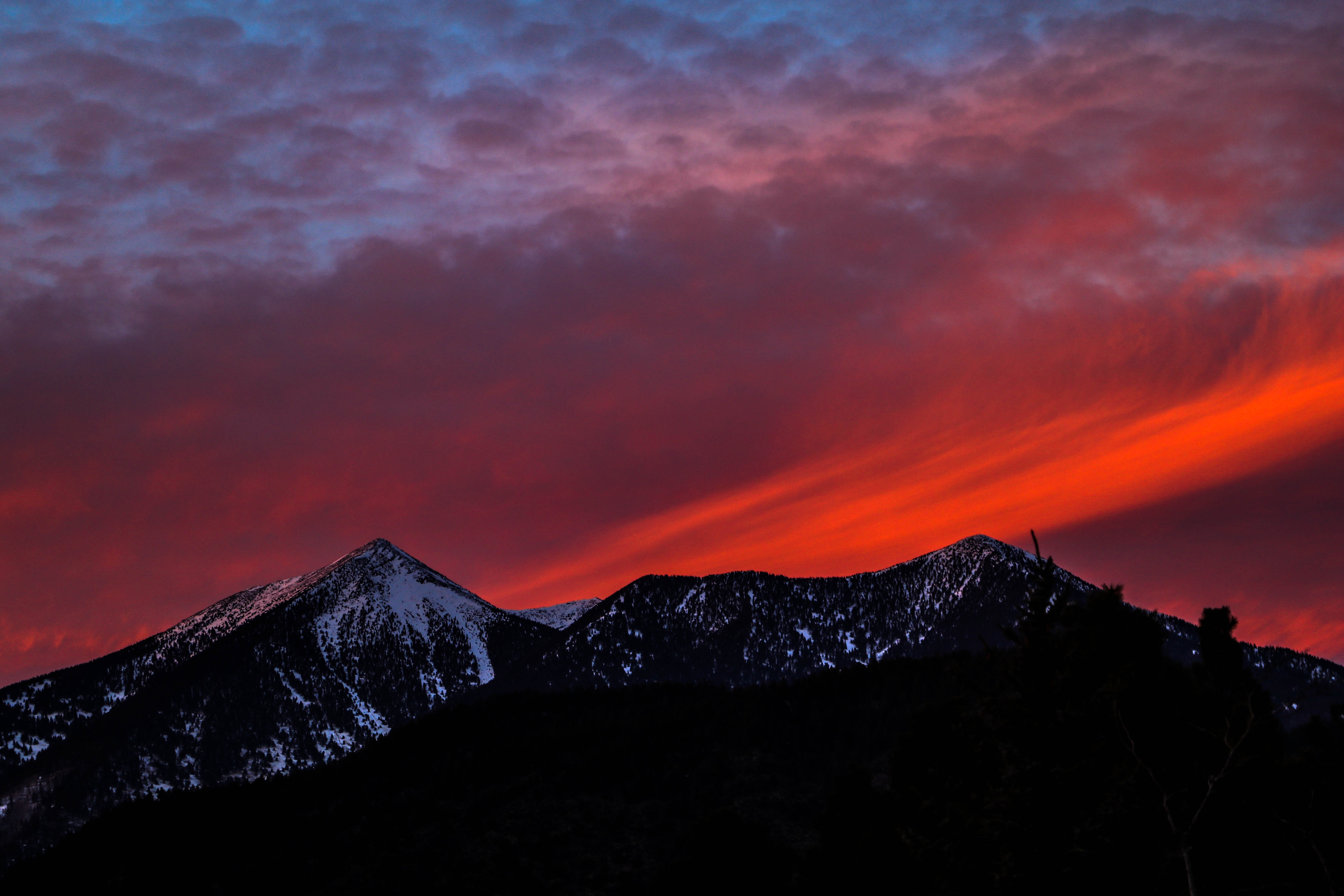 silhouette of mountain at golden our