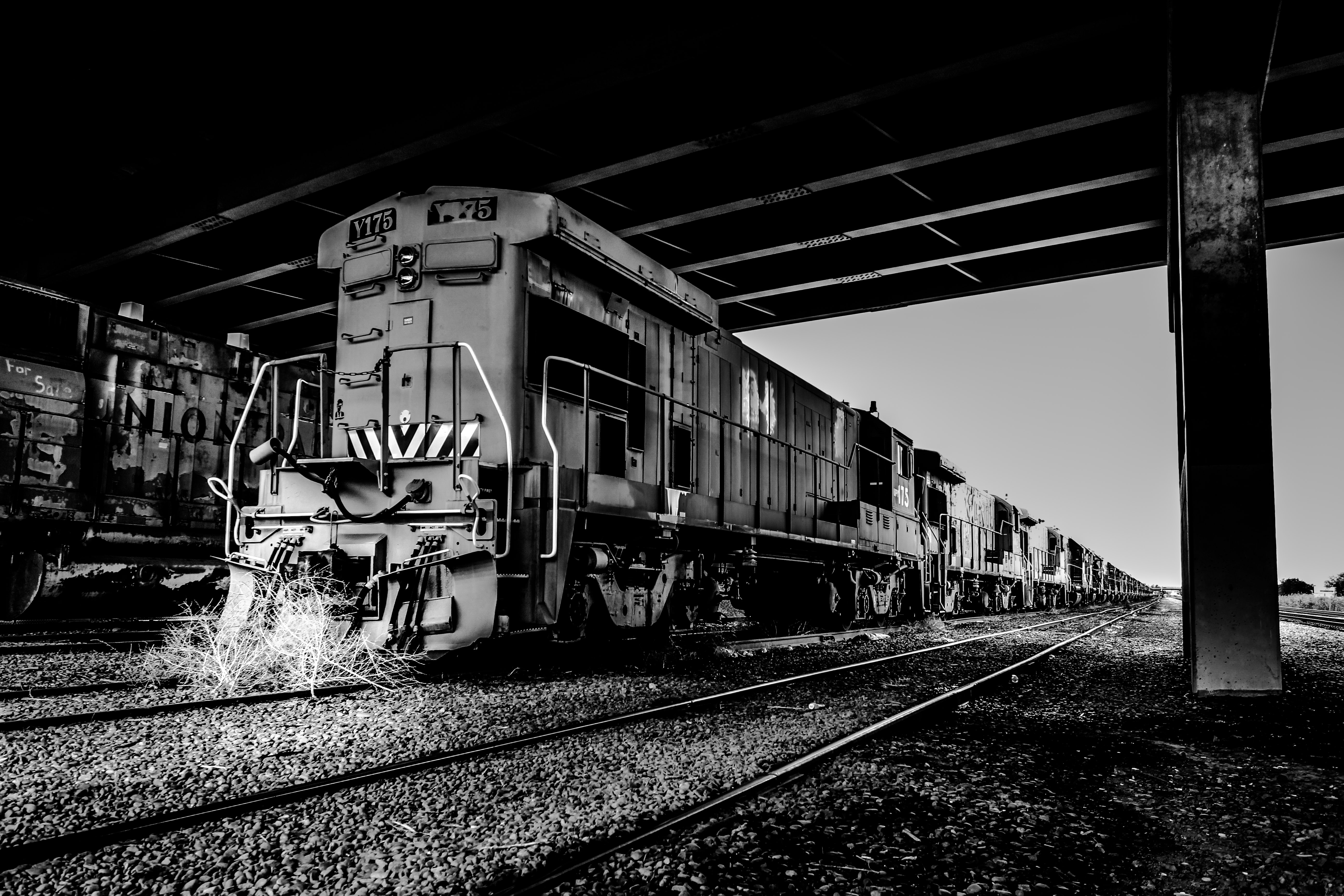 grayscale photography of train on station