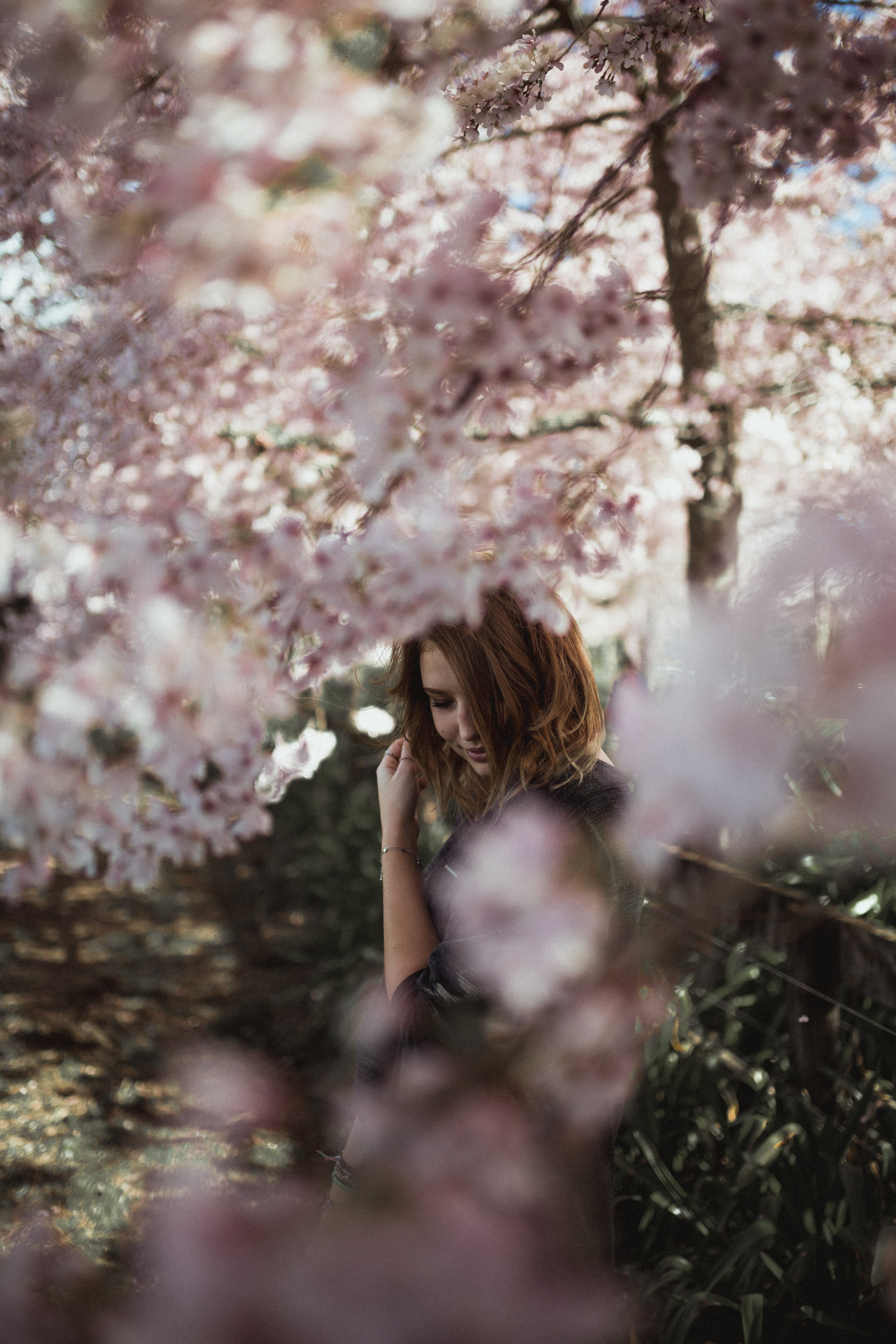 woman near cherry blossom tree