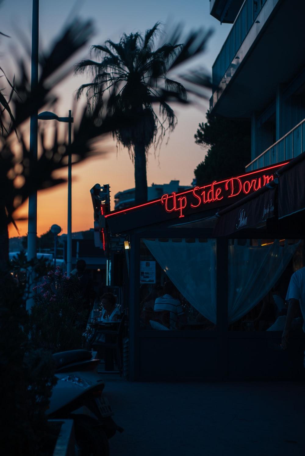 red Up Side Dorm neon signage