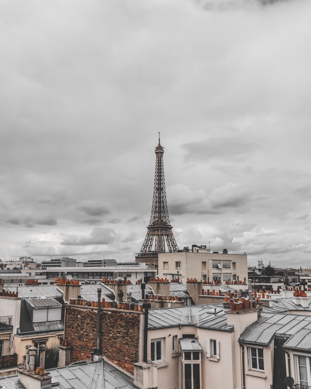 Eiffel tower under gray clouds