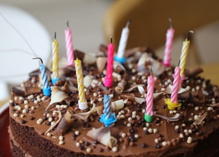 round chocolate cake with candles on top