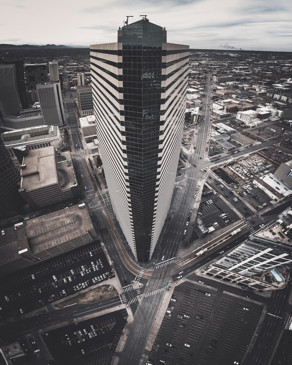 bird's-eye view photography of concrete high-rise building