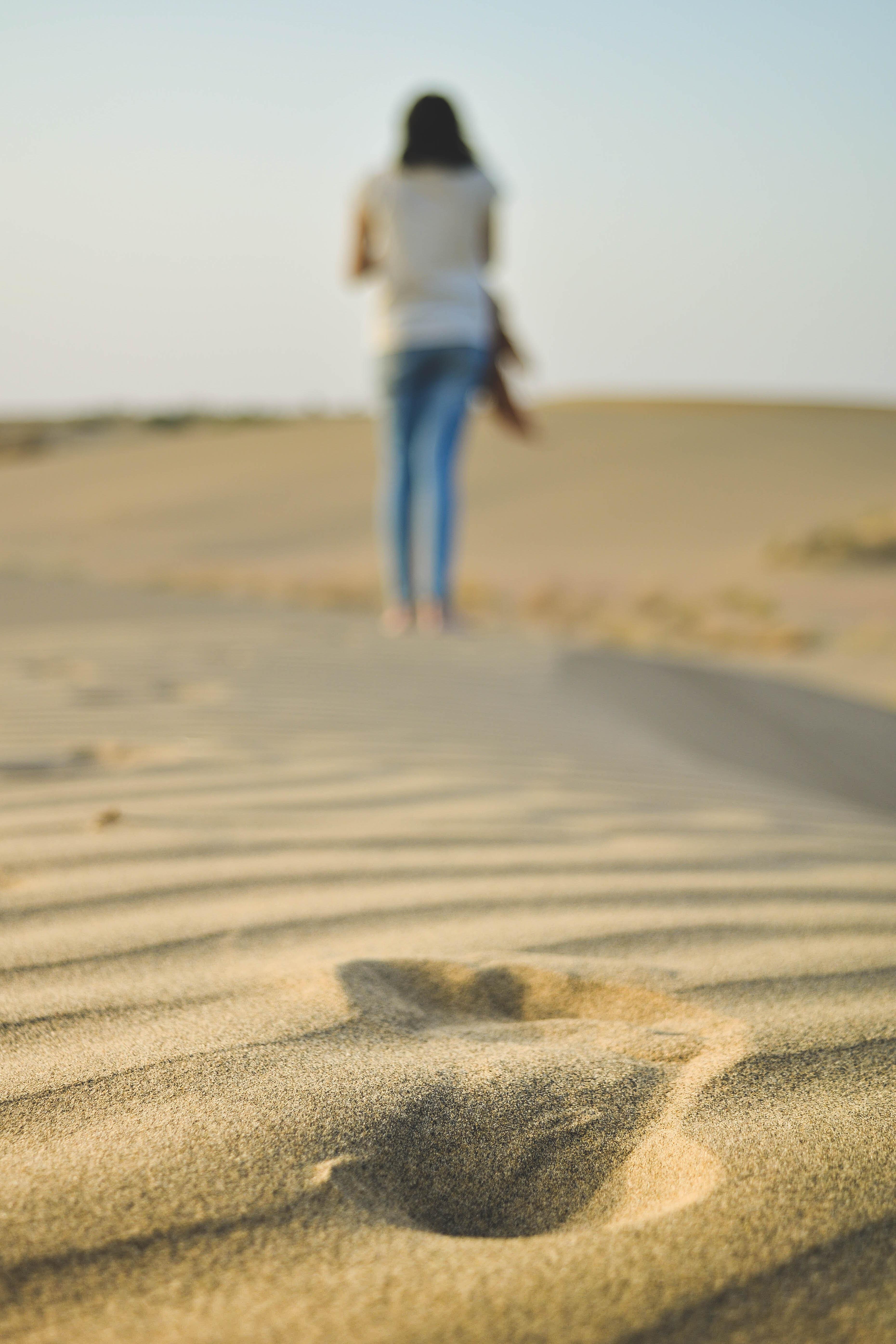 woman walking on sad