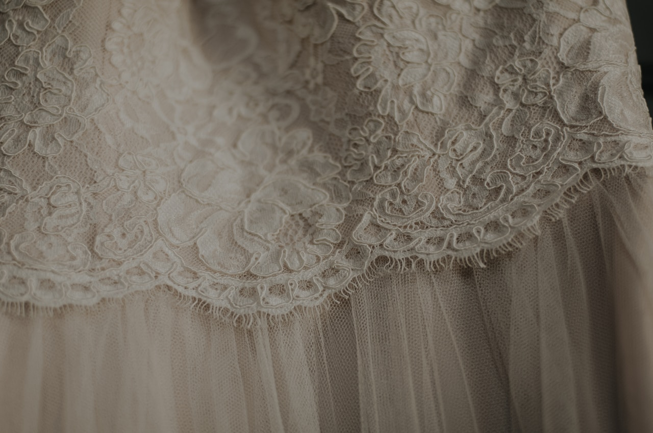 Bridal gown lace detail