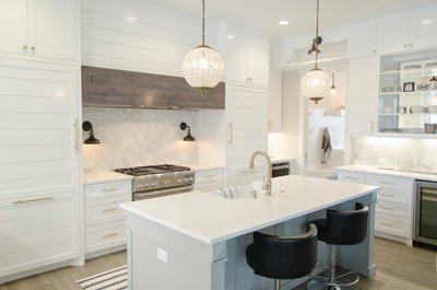 white kitchen room set interior design zoom background
