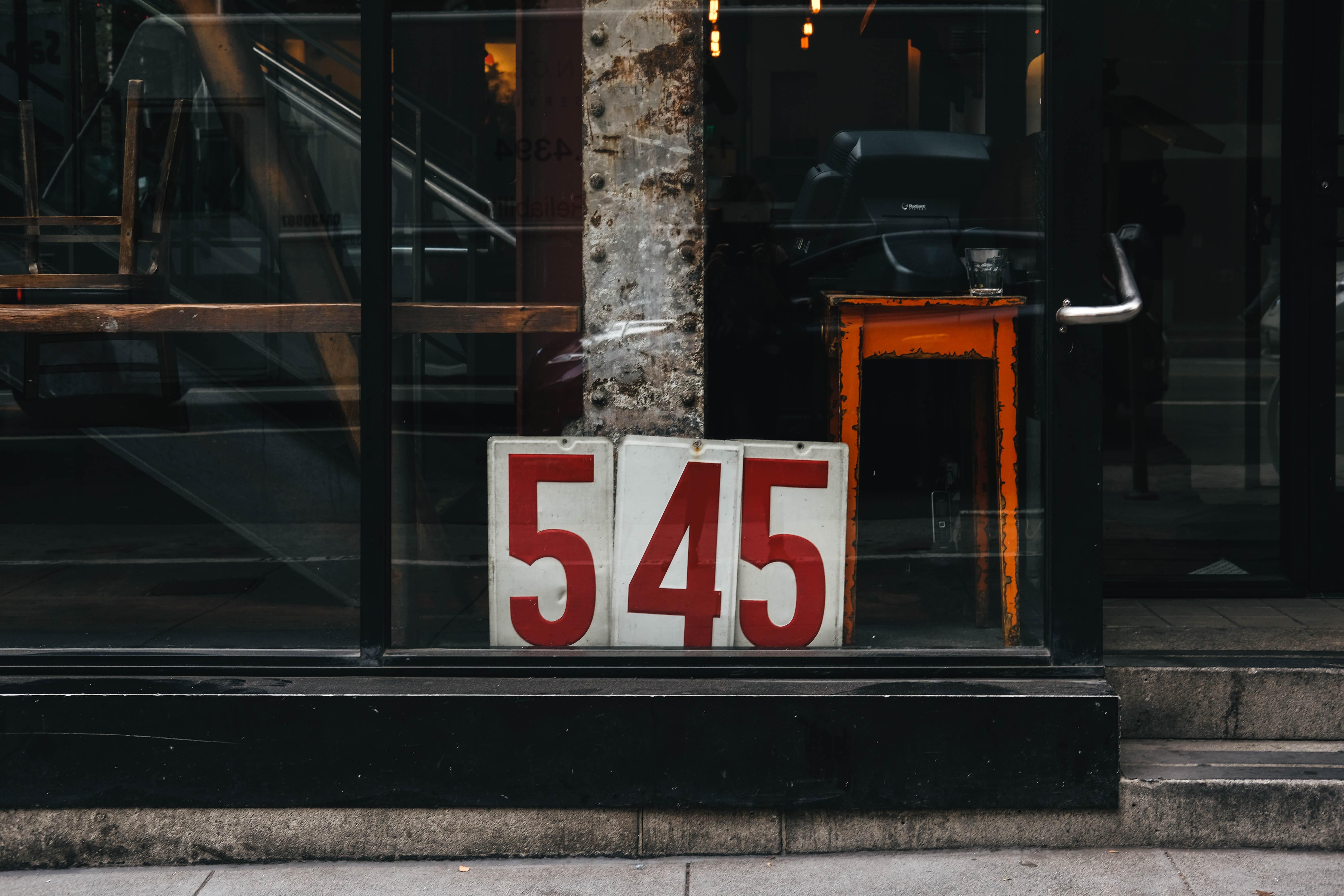 red and white 543 signs