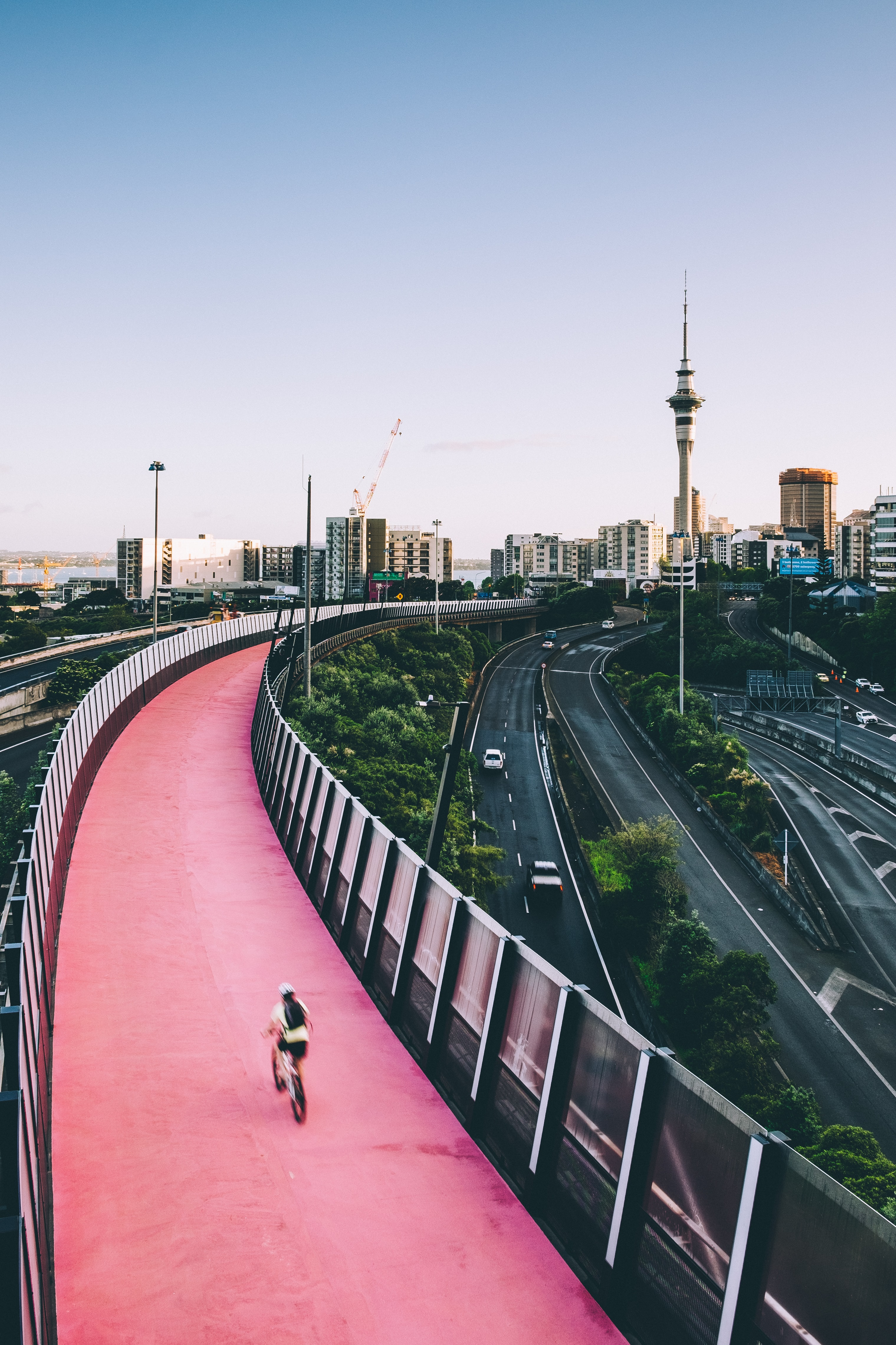 person biking on red concrete road during daytime