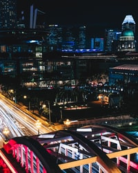 timelapse photography of cityscape during night
