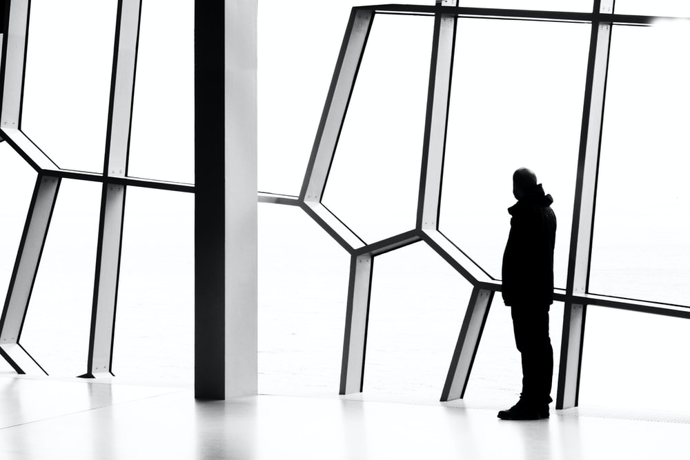 silhouette photo of person standing near window