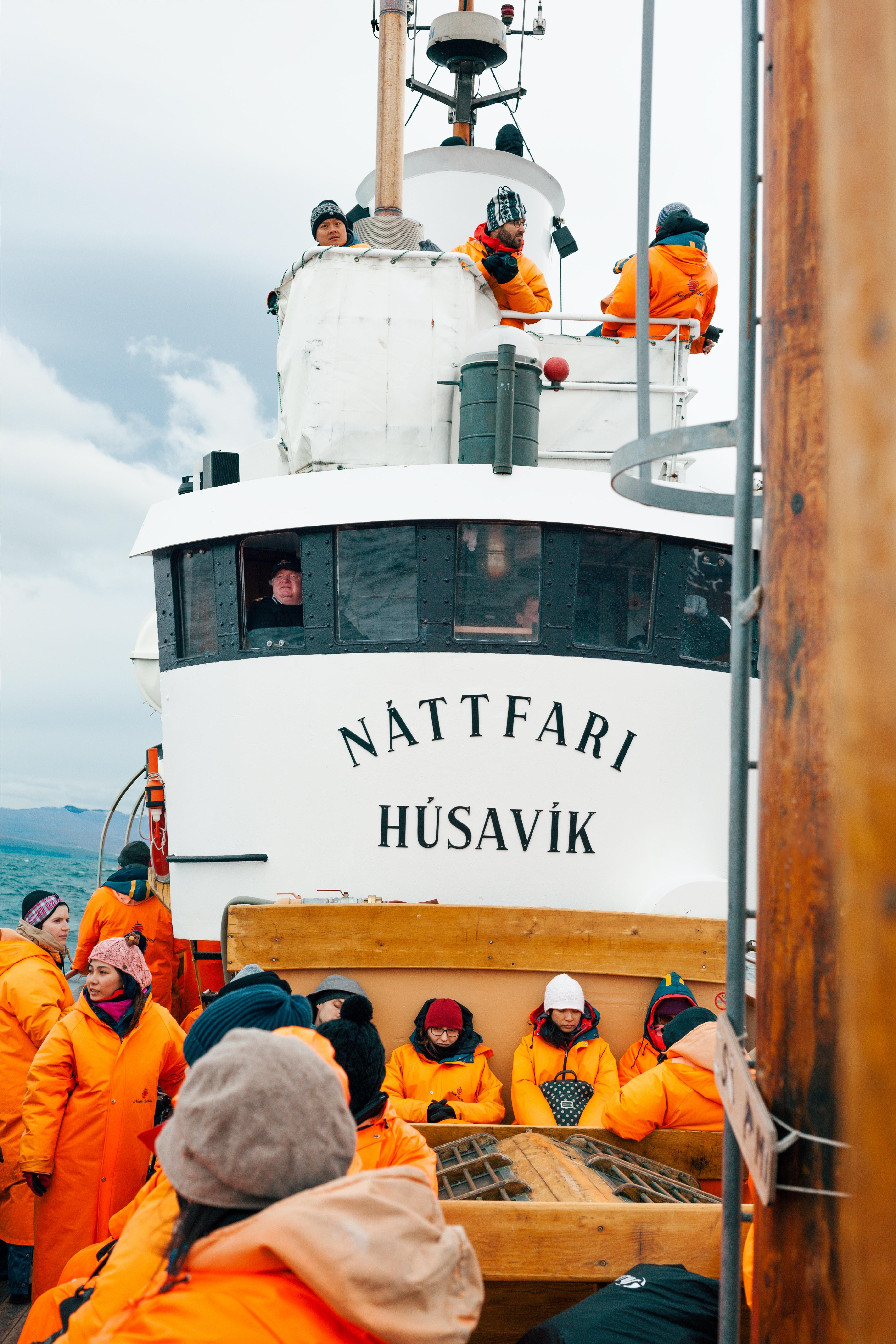 people on white Nattfari Husavik ship on body of water during cloudy weather