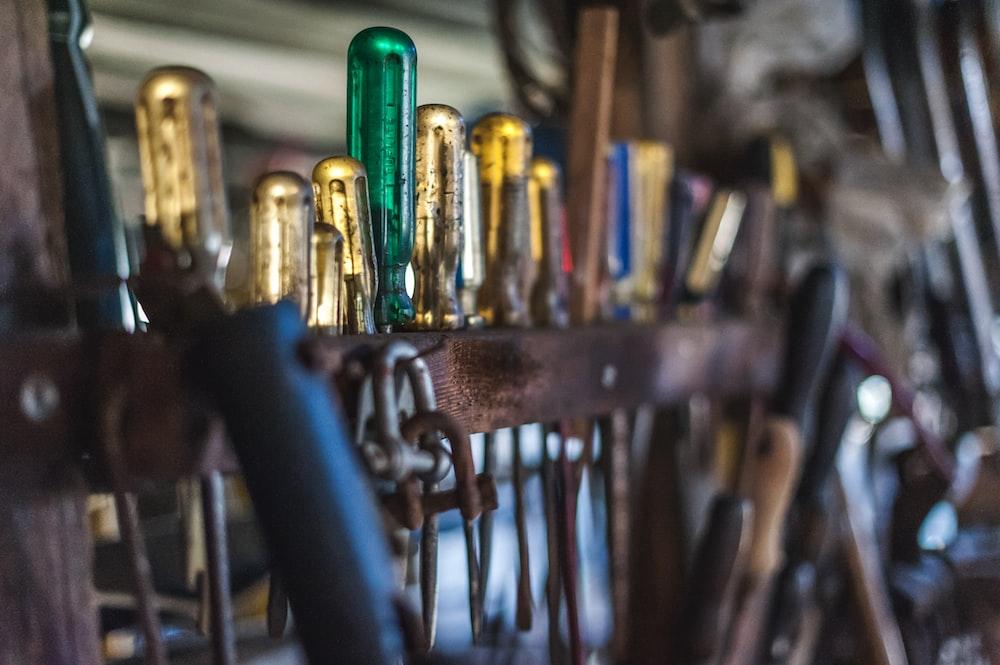 screwdrivers on rack