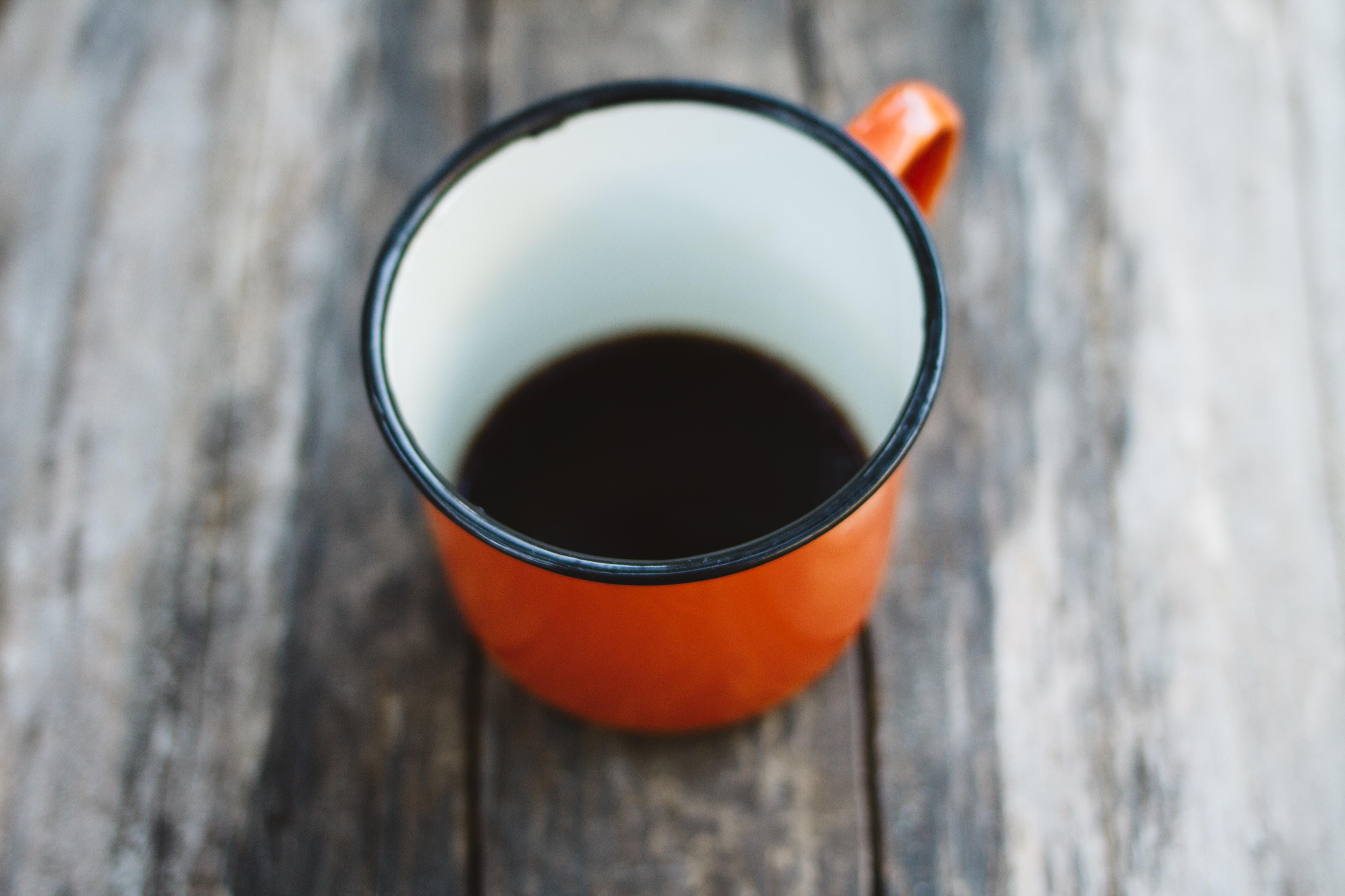 orange and white mug