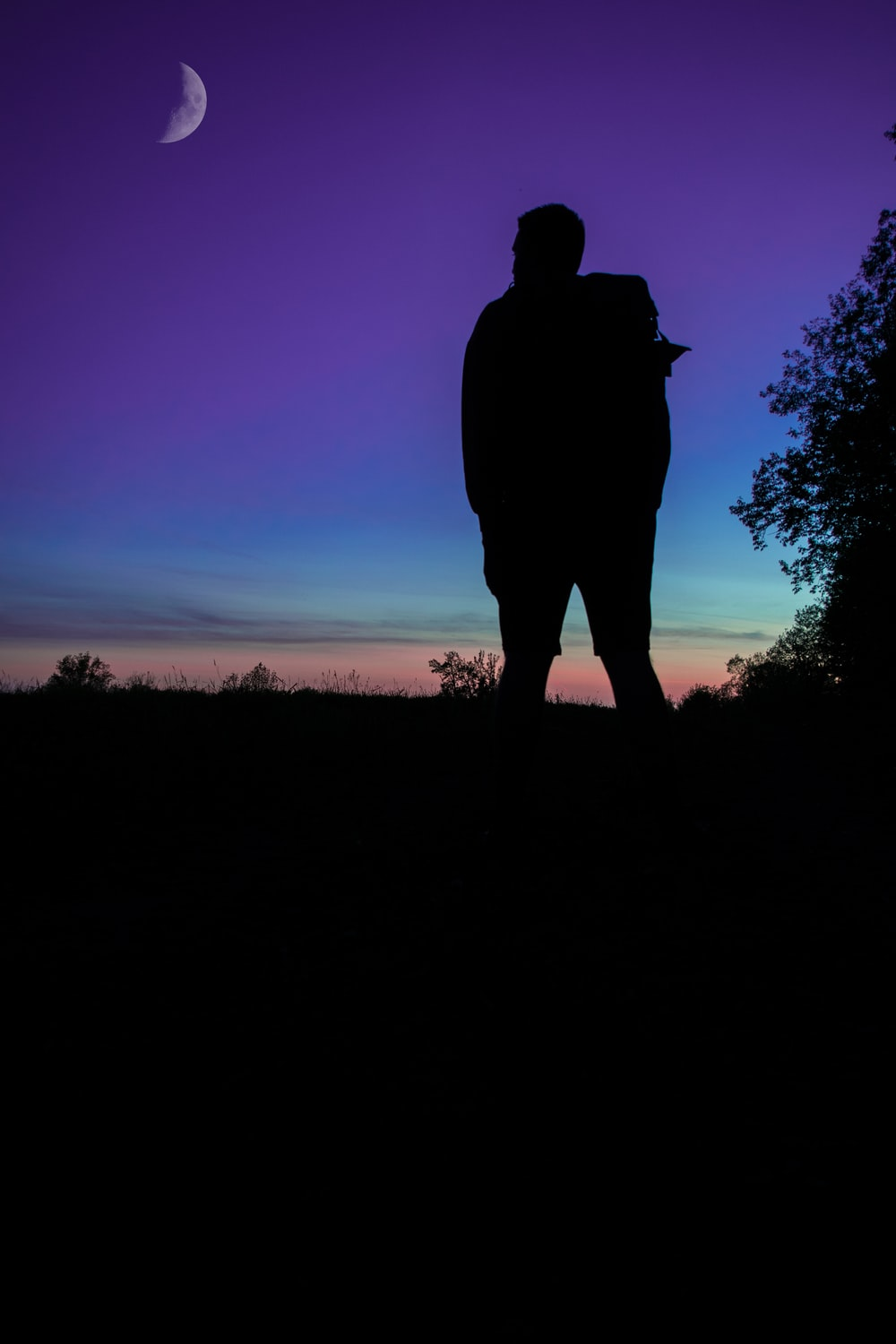 silhouette of person on grass