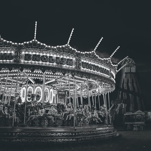 grayscale photo of carousel