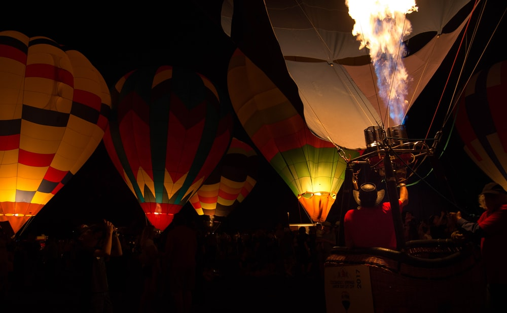 air balloons during nighttime