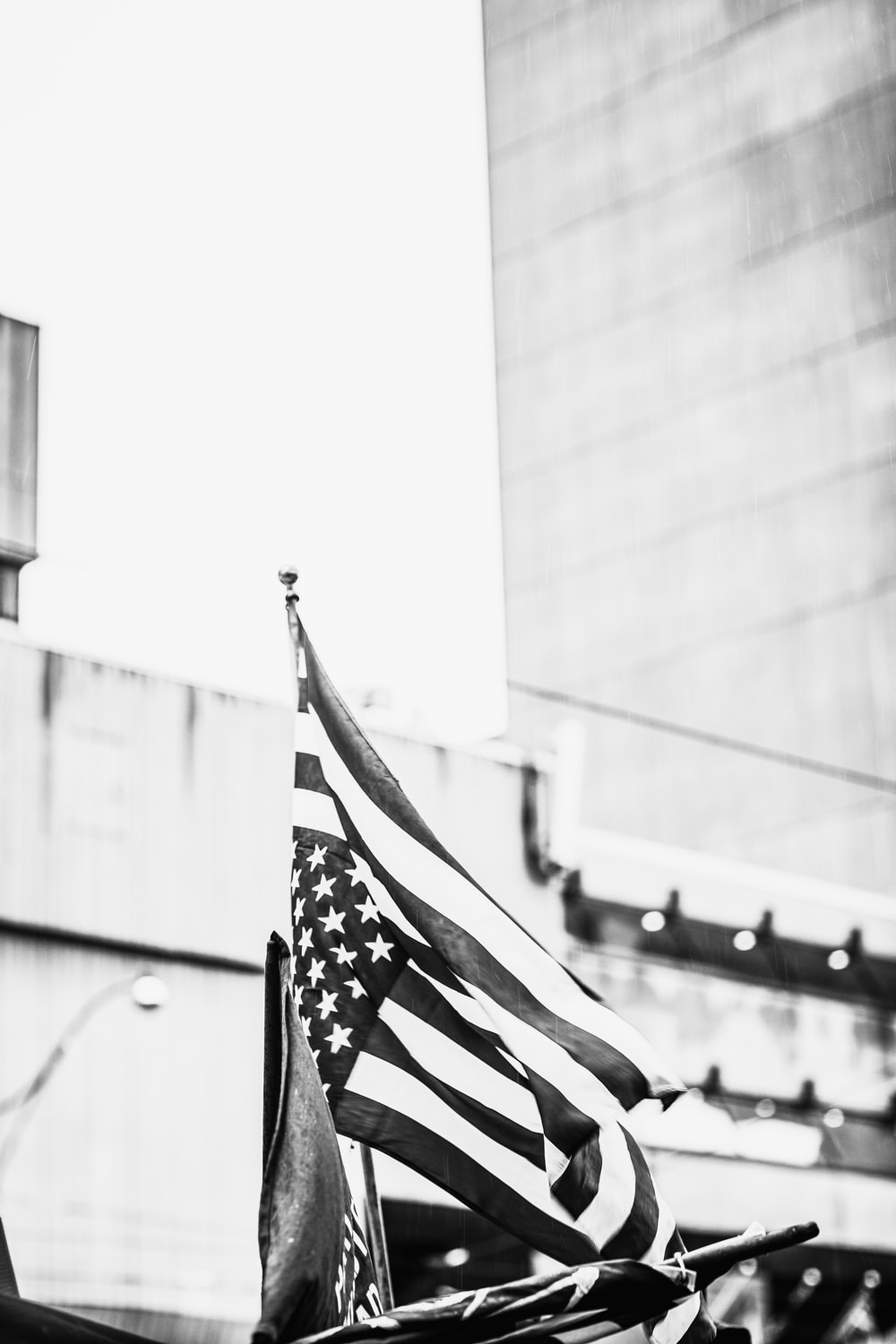 grayscale photography of US flag