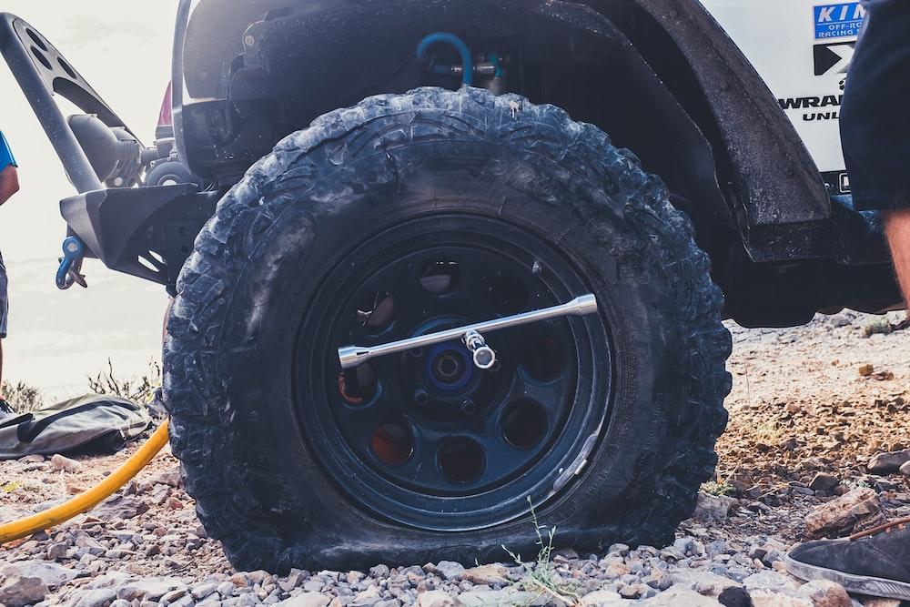 flat tire close-up photography