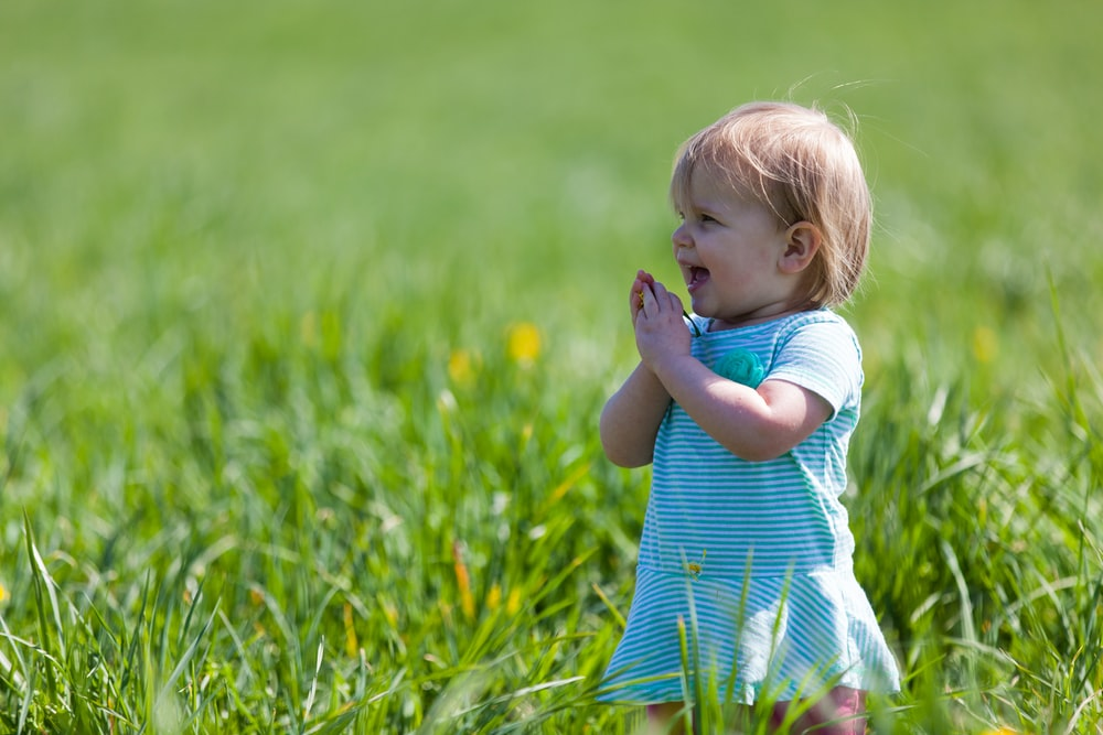 toddler with teal dress on green grass field during daytime