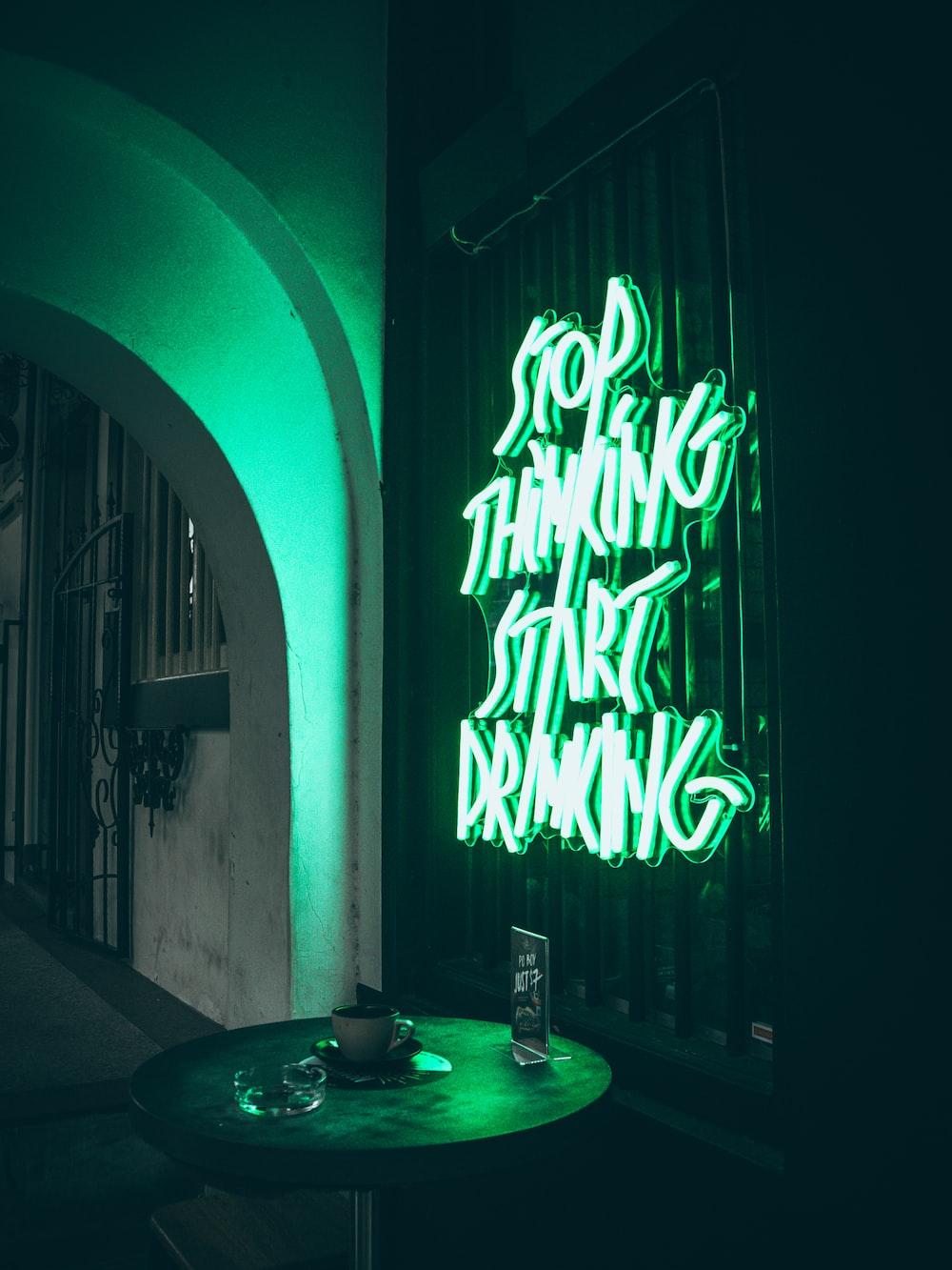 turned-on neon signage