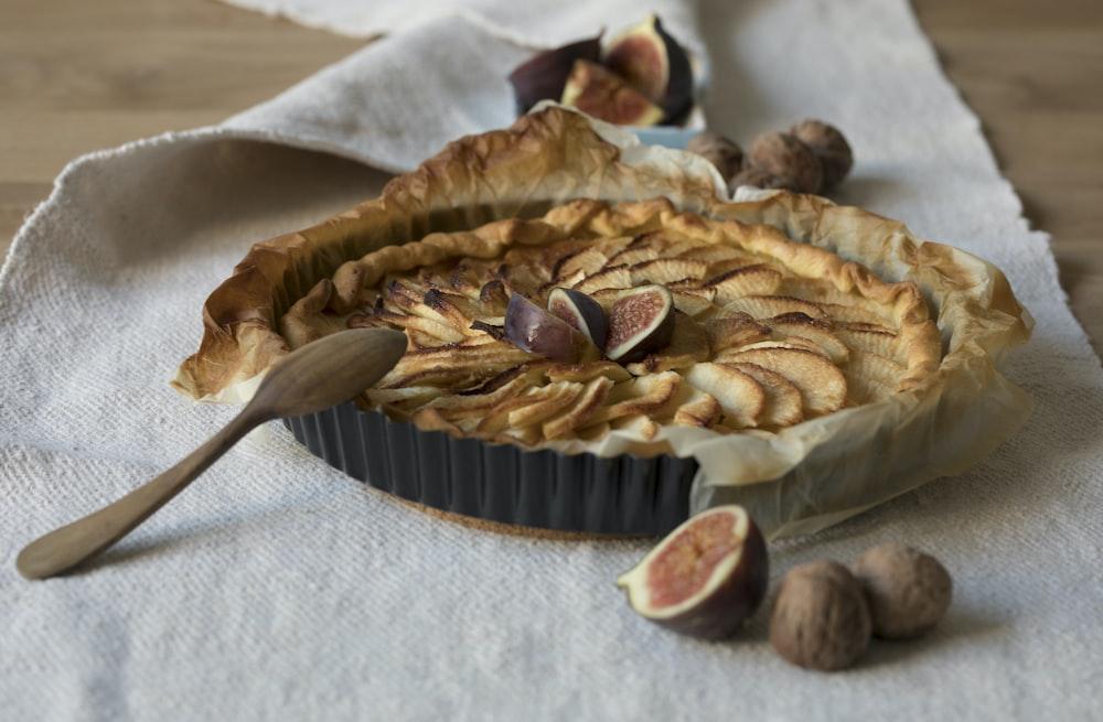 pie on gray textile