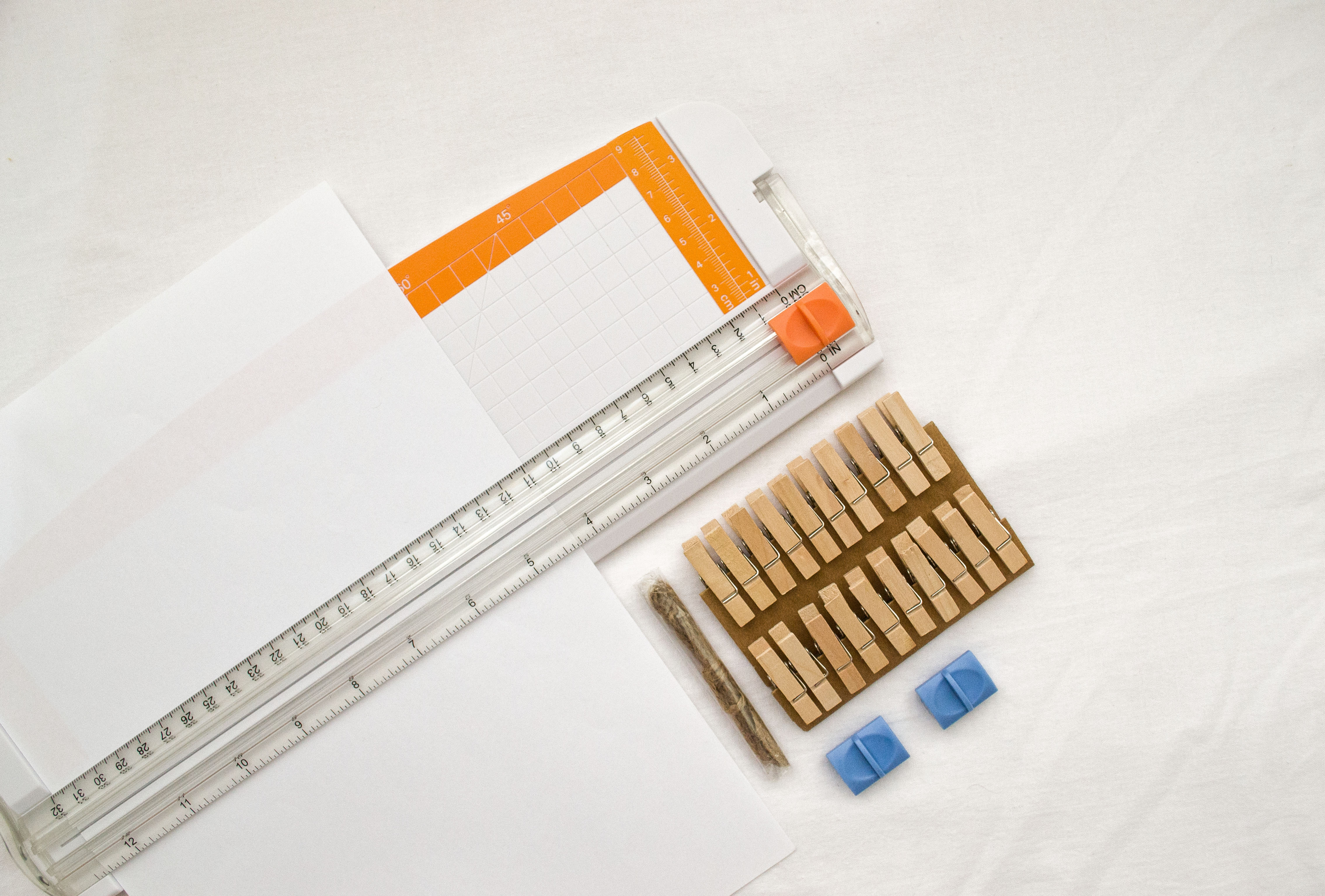 clear acrylic ruler on white paper
