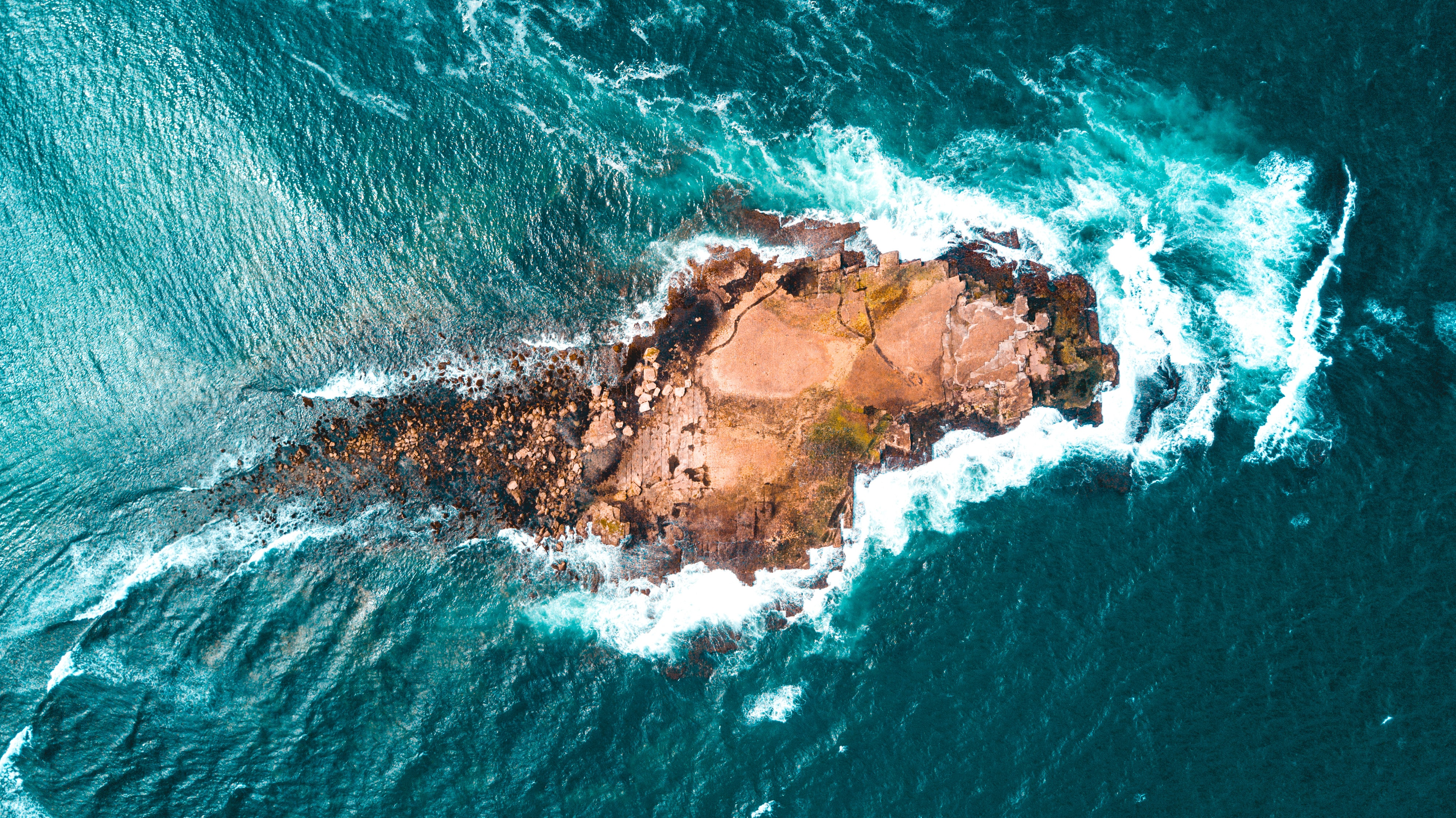 top view of rocky small island