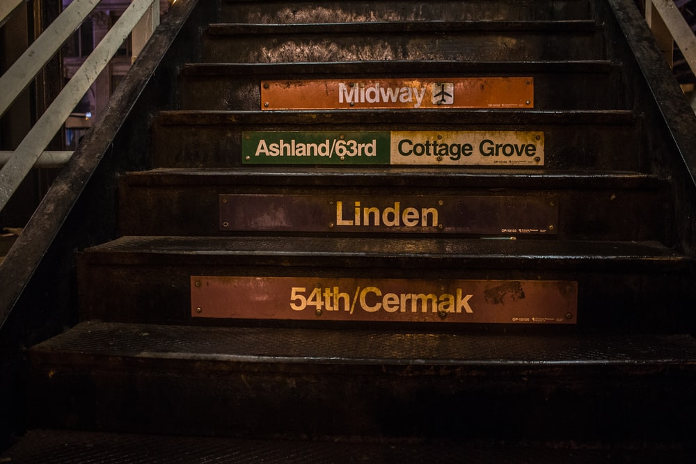 black wooden stars with road signage on each steps
