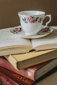 white-and-pink teacup on top of opened book