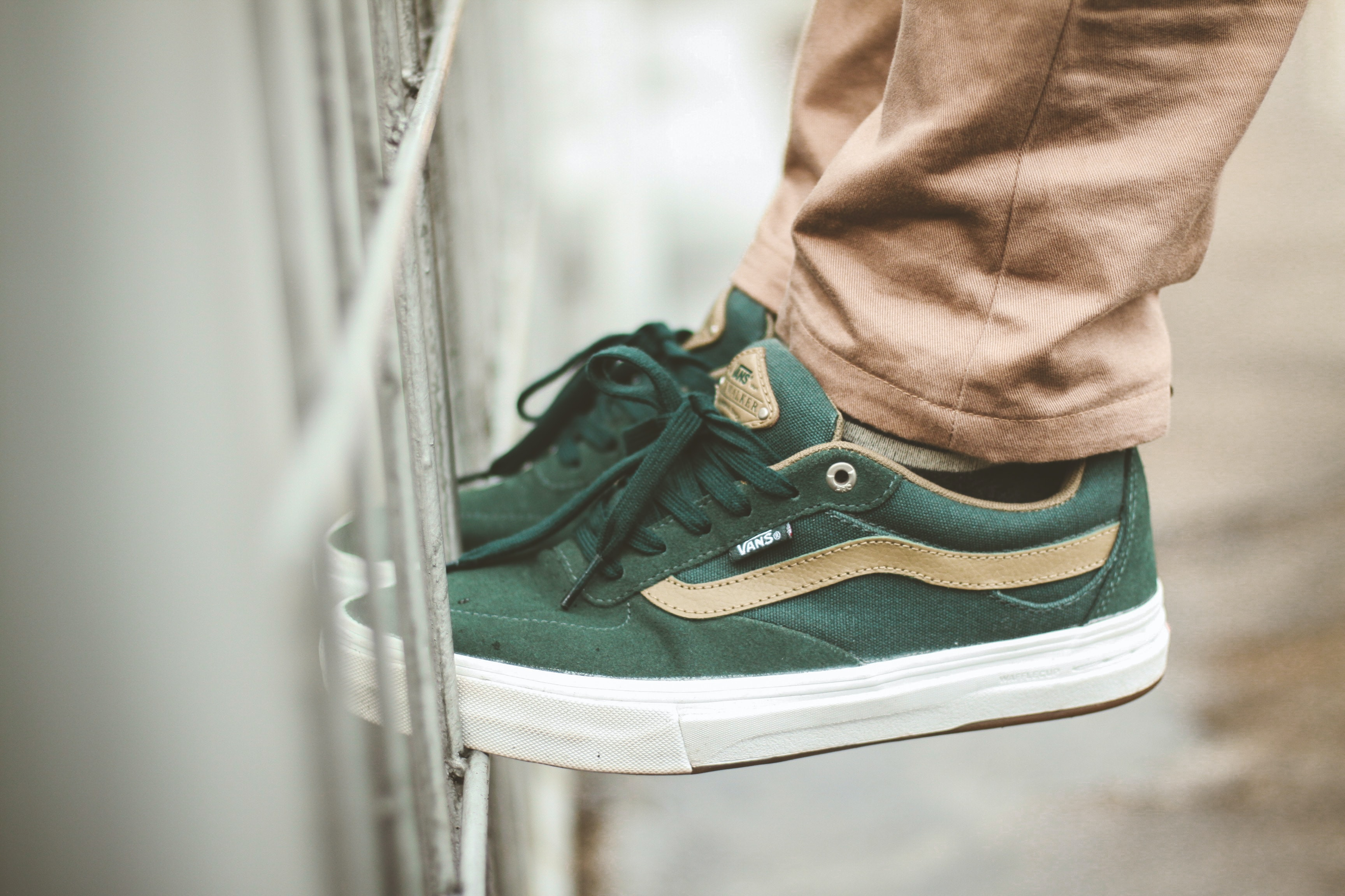 person wearing green Vans low-top sneakers