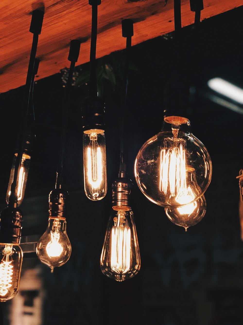 lighted Edison bulbs