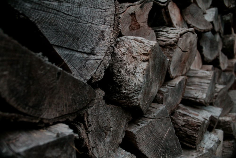 close photo of stack of brown logs