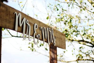 mr and mrs signage wedding zoom background