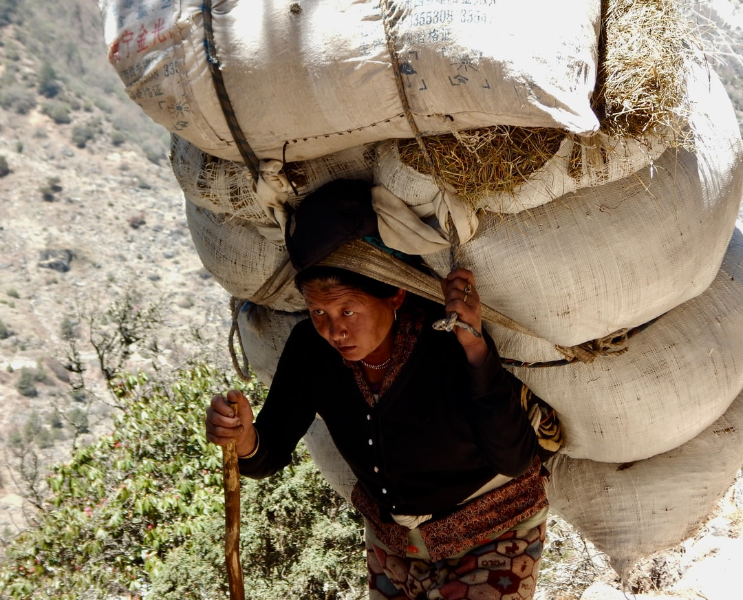 On my way to the Basecamp of Mount Everest I was astonished by the heavy loads carried by porters (men and women.)