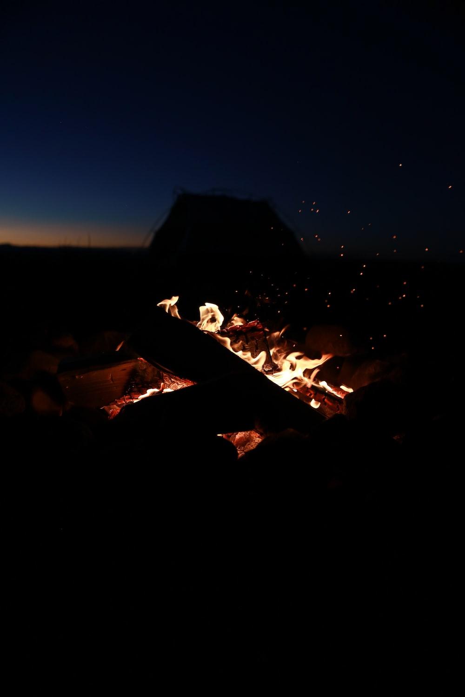 bonfire during nigh time