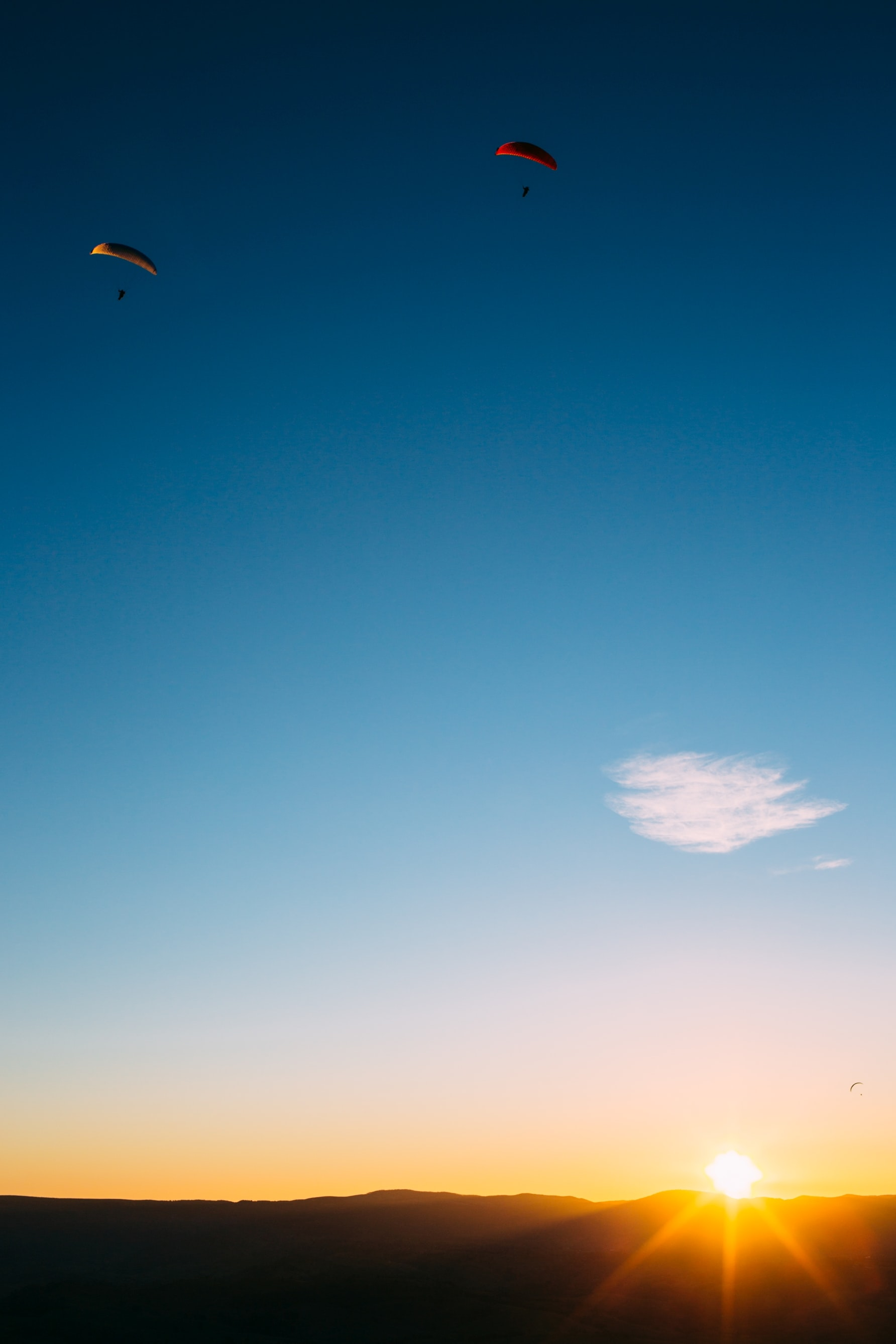 two person doing paragliding during golden hour