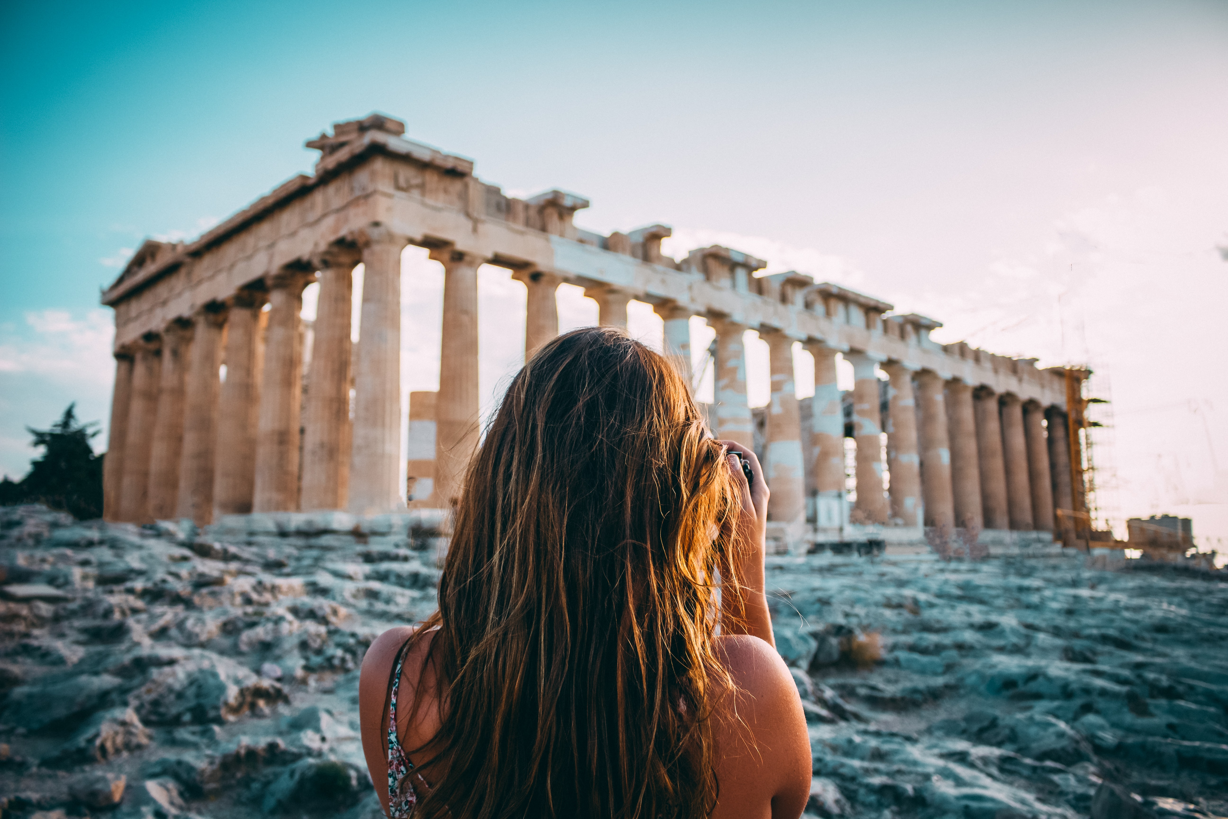 woman looking through the Athens
