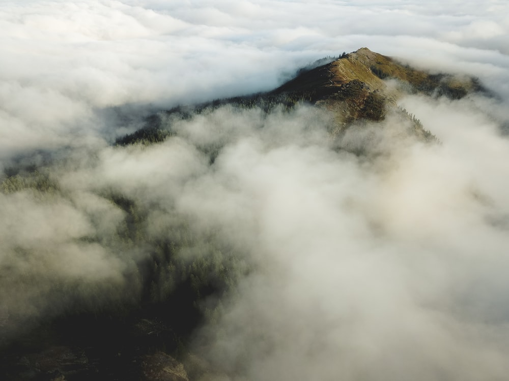bird's eye view of mountain covered in sea of cloud