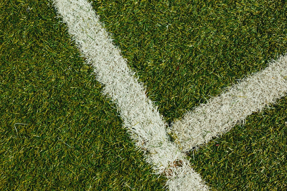 green grass field with white paint