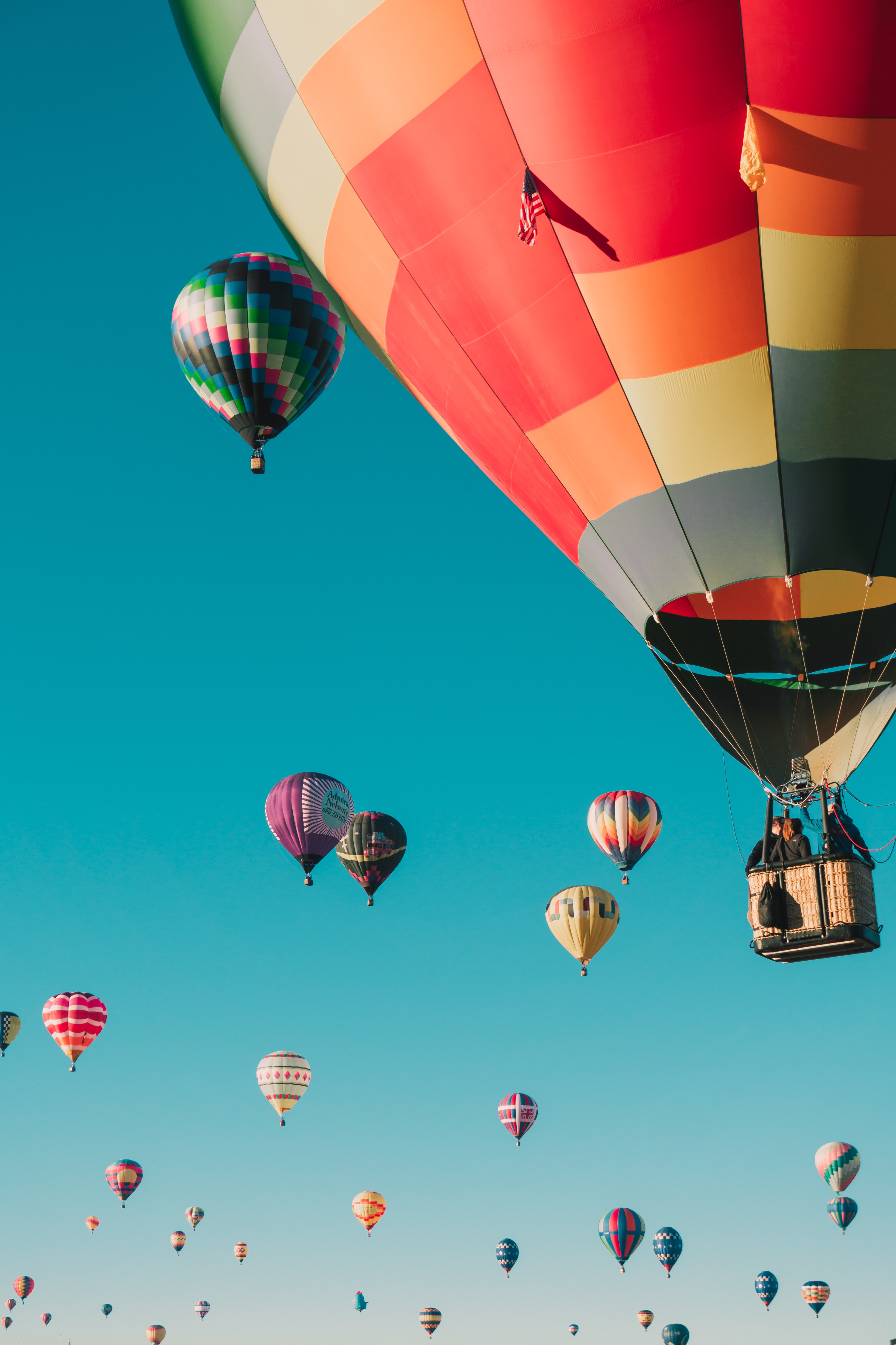 hot air balloons under blue sky