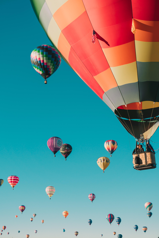 hot air balloons under blue sky