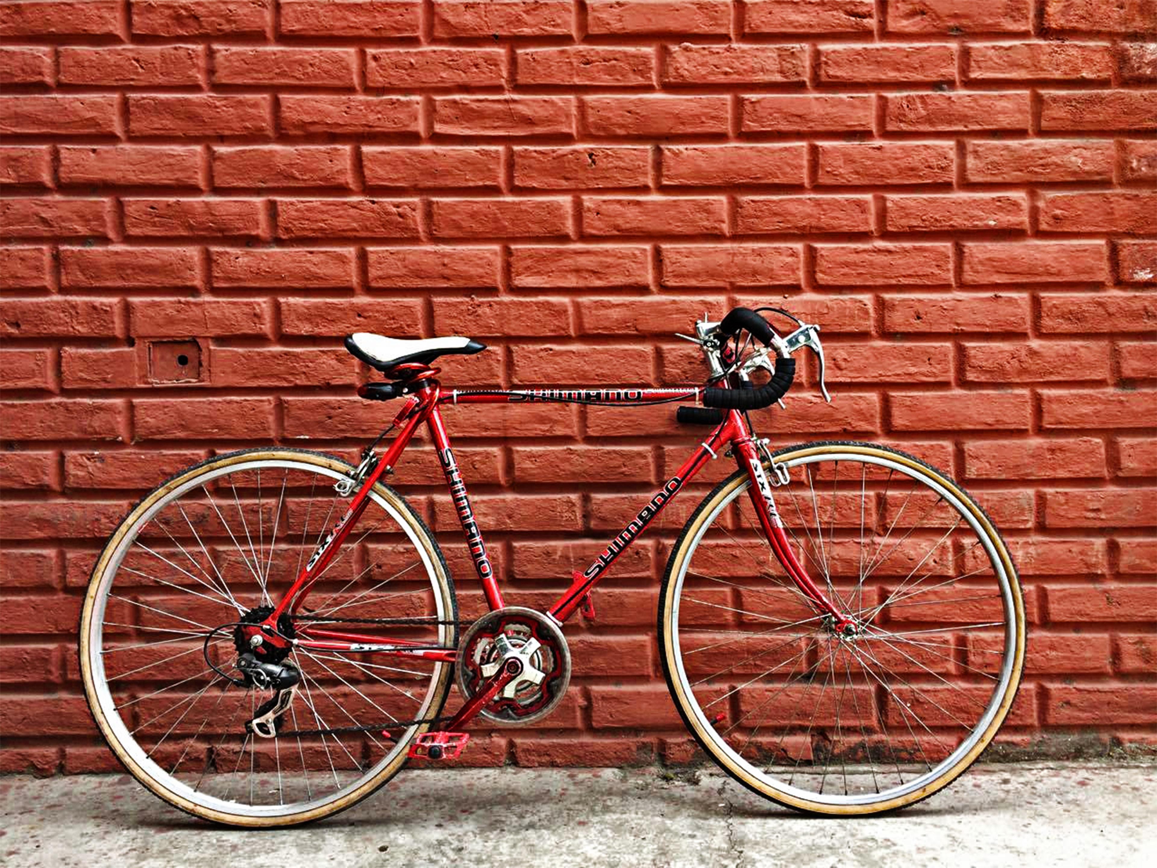 road bike against wall