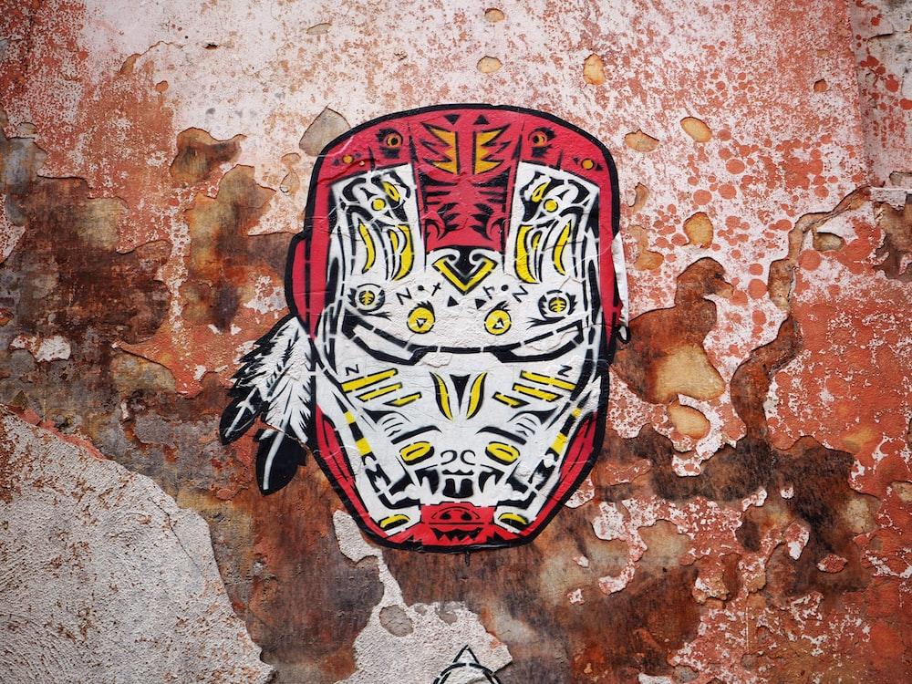 red and white Iron Man cutout decor