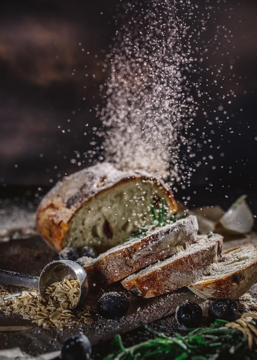 sliced bread on table