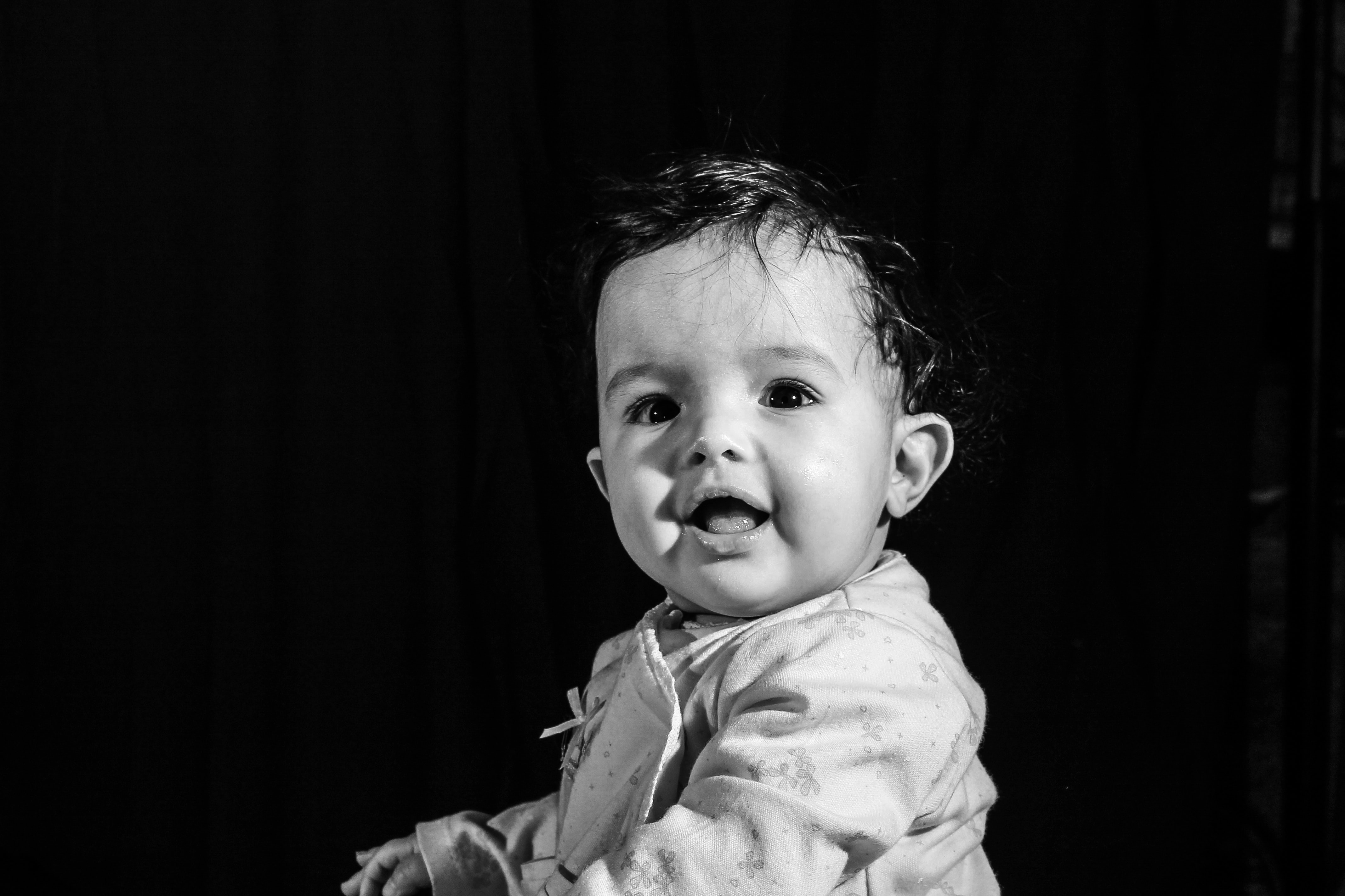 black and white photo of toddler